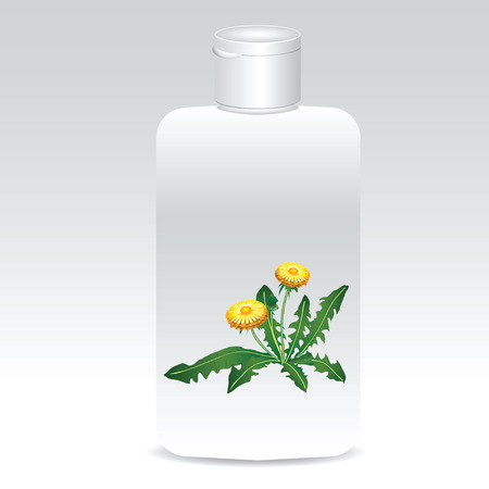 Plastic bottles with cosmetics of dandelions. Vector illustration.