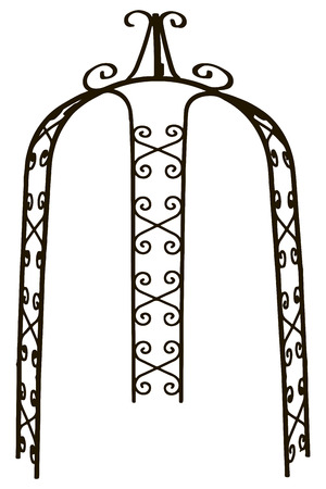 Pergola arch steel with openwork decoration for the garden. Vector illustration.
