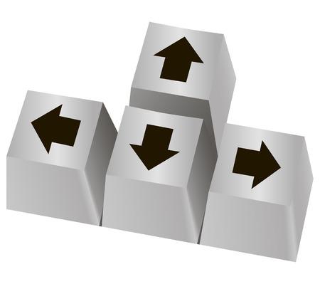 矢印の付いたコンピューター キーのセット。ベクトルの図。  イラスト・ベクター素材