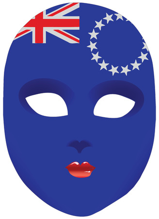 Classic mask with symbols of statehood of Cook Islands. Vector illustration