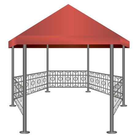 鋼鉄支柱と布で作られた屋根の展望台。ベクトル イラスト。