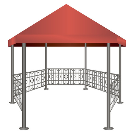 Gazebo with steel uprights and roof made of cloth. Vector illustration. Illusztráció