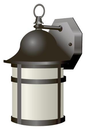 lamp: Ancient lantern for outdoor lighting. Vector illustration.