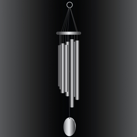 Wind chimes with steel tubes. Vector illustration. Vector