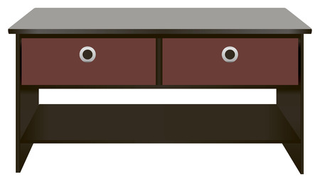 Black wooden office desk with drawers. Vector illustration. Vector