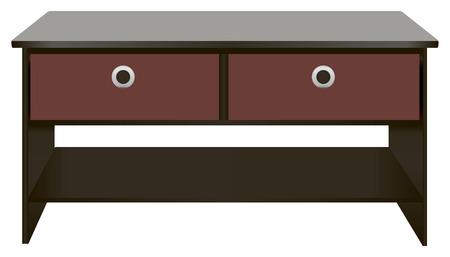 drawers: Black wooden office desk with drawers. Vector illustration. Illustration