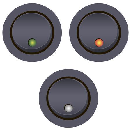 led: Light switch on-off with LED indicator. Vector illustration. Illustration