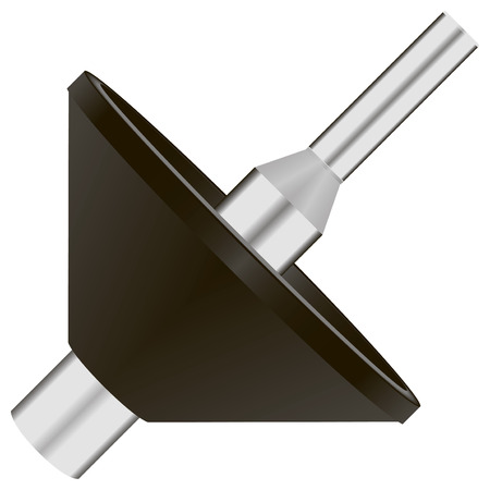 boring rig: Router subbase centering pin and cone. Vector illustration.