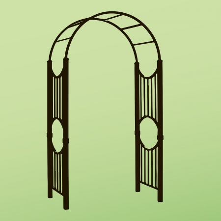 decorate: Openwork design to decorate the garden paths and a support for climbing plants. Vector illustration. Illustration