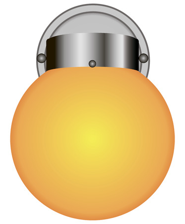 outdoor lighting: Round wall light for outdoor lighting illustration.