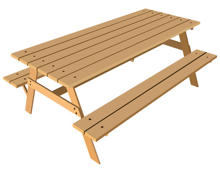 picnic table: Standard table with benches on either side of the table illustration.