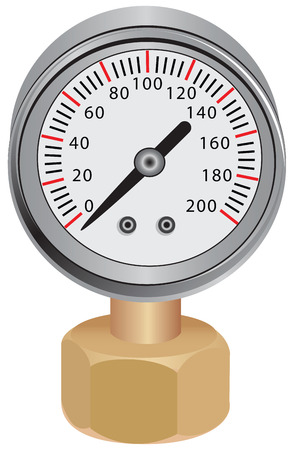 Pressure gauge, measuring instrument of pressure in the pipeline illustration.