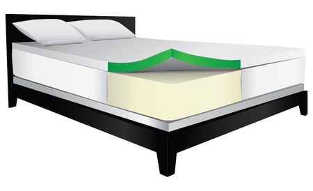 guest house: Bed with therapeutic mattress, foam filler. Vector illustration.
