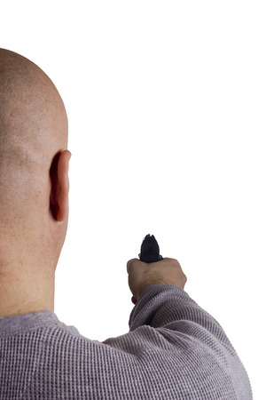 threatened: Man threatened with a gun. Control of Firearms. Stock Photo