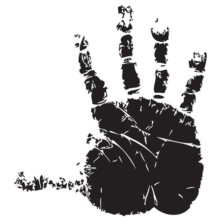 splayed: Handprint with fingers splayed adult. Vector illustration. Illustration