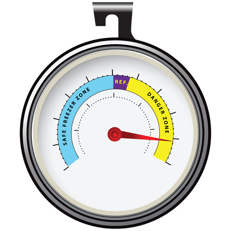 thawing: Thermometer for refrigeration hosted inside. Vector illustration.