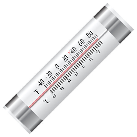 fahrenheit: Alcohol thermometer for refrigerator with two scales in Celsius and Fahrenheit. Vector illustration. Illustration