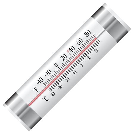 refrigerate: Term�metro de alcohol para nevera con dos escalas en grados Celsius y Fahrenheit. Ilustraci�n del vector. Vectores