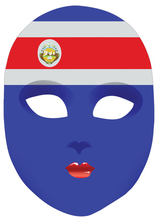 Classic mask with symbols of statehood of Costa Rica. Vector illustration 向量圖像