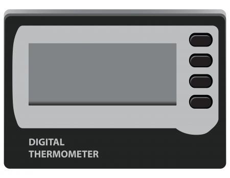 Digital Thermometer for temperature control in the refrigerator. Vector illustration.