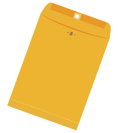 Large new yellow envelope for paper letter. Vector illustration. Çizim