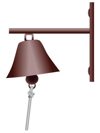 doorstep: Vintage doorbell in the form of a bell. Vector illustration.