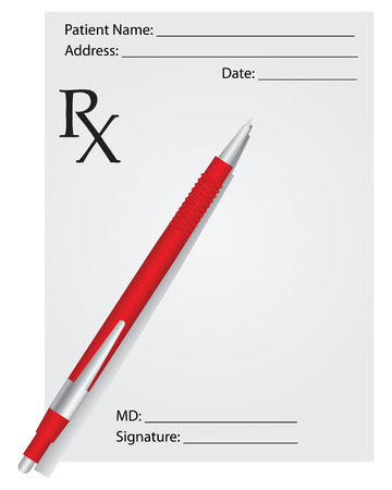Medical prescription and red pen. Vector illustration.
