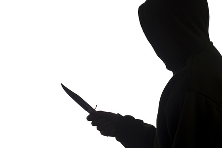 Man threatened with a knife. Gun control. Crime. Stock Photo - 25250872