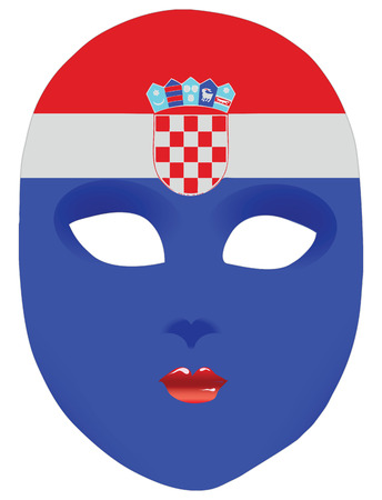 statehood: Classic mask with symbols of statehood of Croatia. Vector illustration