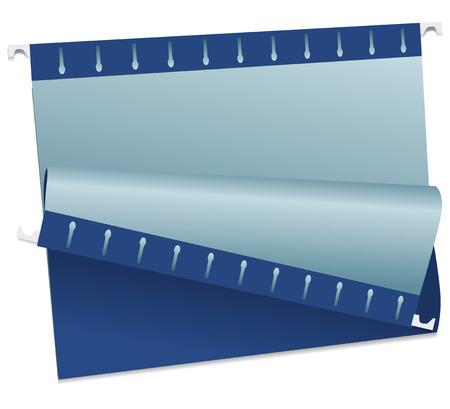 Blue folder for storing documents. Vector illustration.