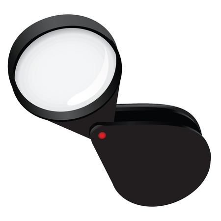 Compact foldable magnifying glass in a plastic housing. Vector illustration. Ilustração