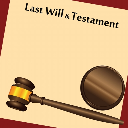 testament: Gavel on top of a &quot Last Will and Testament,  Contract with a antique-like background. Vector illustration.