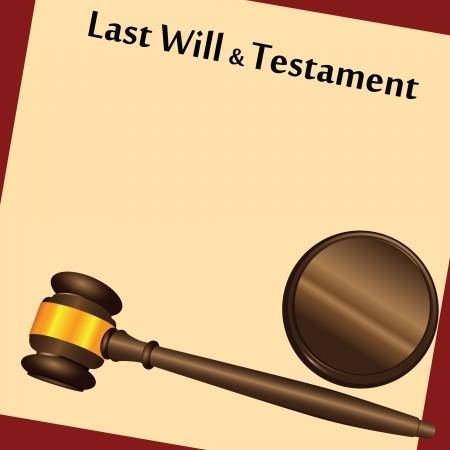 """Hamer op de top van een """"Last Will and Testament, Contract met een antiek-achtige achtergrond. Vector illustratie. Stock Illustratie"""