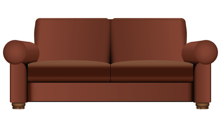 Brown sofa for home or business. Vector illustration.