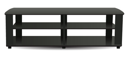 Contemporary TV stand with three shelves. Vector illustration. Çizim