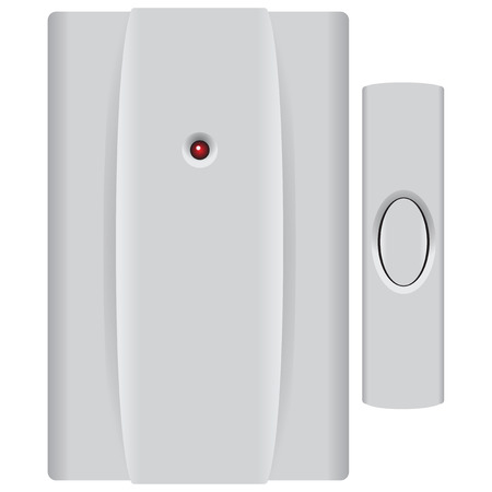 speakerphone: Electric Doorbell complete with button. illustration.