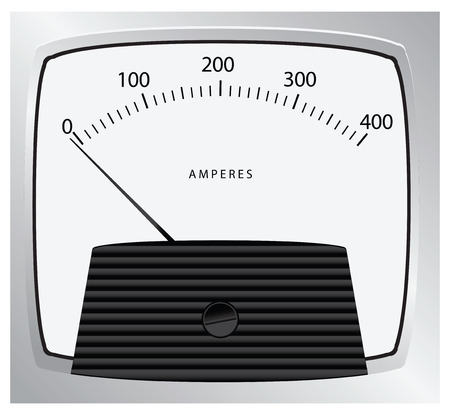 ammeter: Pointer instrument for measuring the strength of the current. Vector illustration.