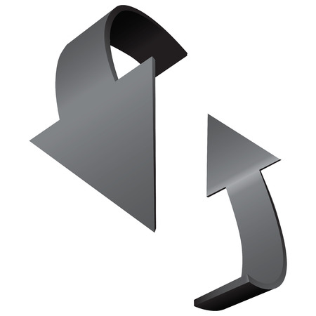 Two arrows indicate the direction of rotation. Vector illustration. Ilustração