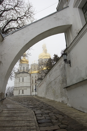 Orthodox church in cloudy weather. Kievan Rus. photo
