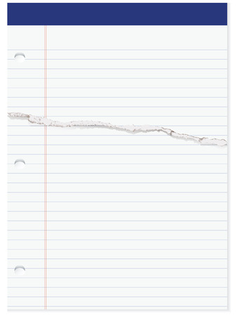 tear off: Selection of office paper in line with the page have a cut. Vector illustration.