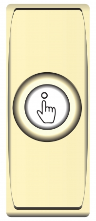 controll: Button modern brass bell with symbol. Vector illustration. Illustration