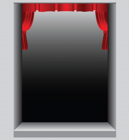art piece: Theatrical scene with red curtains short. Vector illustration.