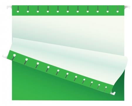 Green folder for storing documents. Vector illustration. Ilustração