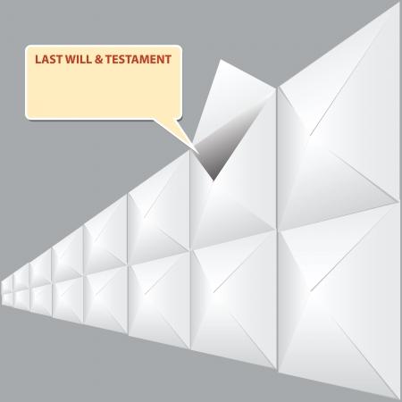 Wills in envelopes, Notary storage last will. Vector illustration.