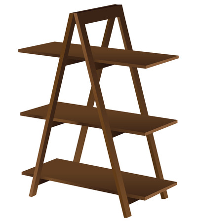 market place: Decorative shelves for accessories and books - the pyramid. illustration.