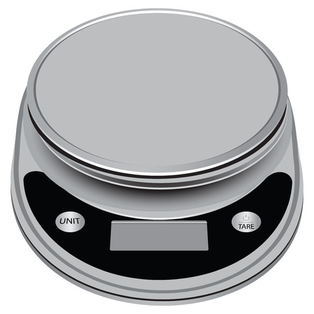 Compact electronic scale with high precision for industrial and domestic use. illustration. Vector
