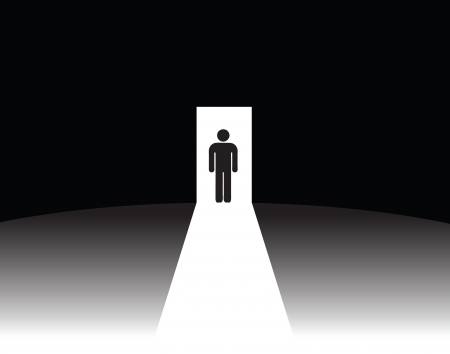 影なし戸口の男。イラスト。  イラスト・ベクター素材