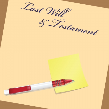Testament as a last will with pen and signature sticker. illustration. Ilustração