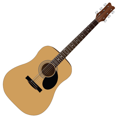 fretboard: Classical guitar, acoustic version of the six-string guitar. Vector illustration.