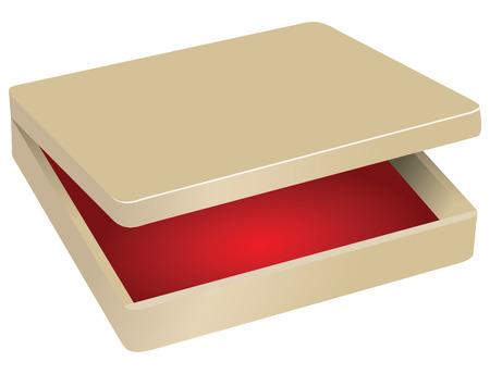 Wooden box with red velvet inside. Vector illustration.